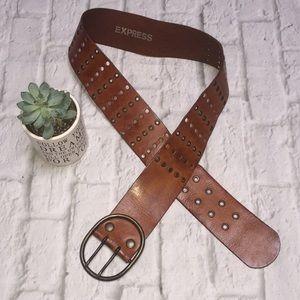 Vintage Express Wide Brown Leather Belt Grommets